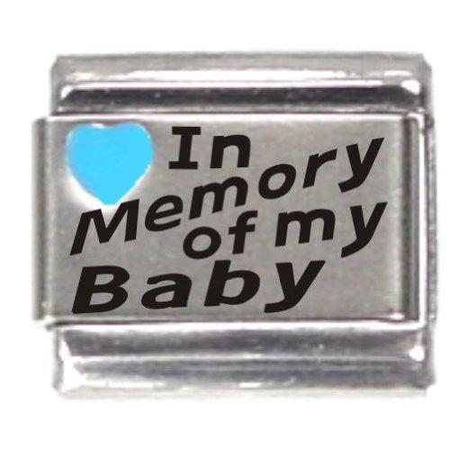 (In Memory Of My Baby Dark Blue Heart Laser Italian Charm)