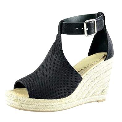 686673bdbaf23 Amazon.com   Nailyhome Womens Espadrille Platform Wedge Sandals Peep ...