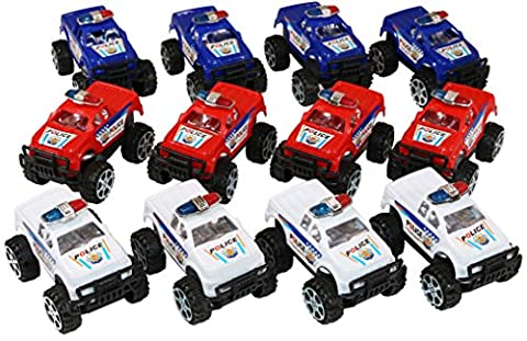 12 Mini Police Monster Pickup Trucks With Big Wheels Comes In Red, Blue and White. - Red Monster Truck