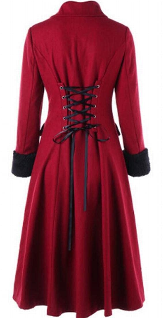 Hmarkt Womens Wool Blend Double-Breasted Swing Vingtage Jacket Coat