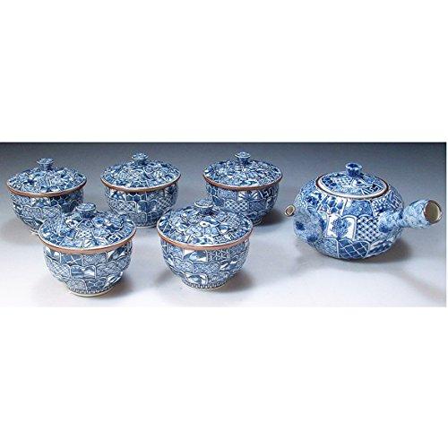Kiyomizu-kyo yaki ware. Set of Japanese yunomi teacup and kyusu teapot kikuborishonzui with wooden box. Porcelain. kymz-JIK037