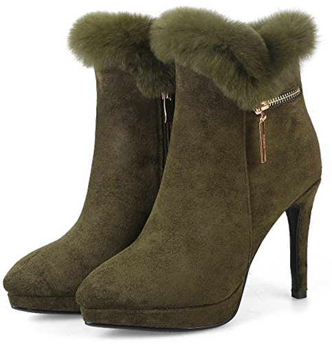 Faux Fur lined Aisun Ankle High Green Women's Chic Booties Block Heels Autumn qERqwtf