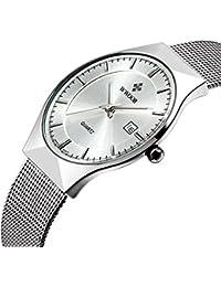 Tamlee Fashion Casual Brand Men's Quartz Watch Date Mesh Steel Strap Ultra Thin Dial Clock (White)