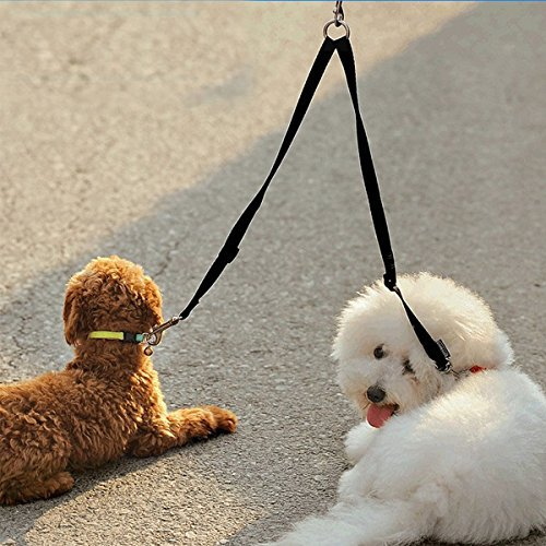 Teanfa Nylon Two Ways Double Dogs Couple Walking Pet Cat Dog Leash Double Dog Cat Leash Ideal for Walking and Training