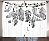 Feather House Decor Curtains Aesthetic Bird Feathers with Dirty Brush Splashes Retro Mysticism Element Living Room Bedroom Window Drapes 2 Panel Set Grey