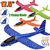 "4 Pack Airplane Toys, Upgrade 17.5"" Large Throwing Foam Plane, 2 Flight Mode Glider Plane, Flying Toy for Kids, Gifts for 3 4 5 6 7 Year Old Boy, Outdoor Sport Toys Birthday Party Favors Foam Airplane"