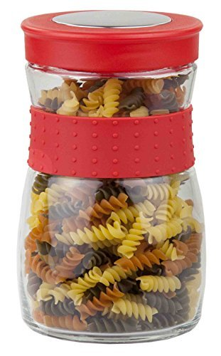 Home Basics Glass Jar W/Rubber Grip Small Airtight Plastic L