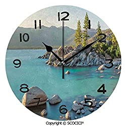 SCOCICI 10 inch Round Clock Pastoral Spring Time Scenery in Provincial Countryside Lake Beach Shallow Water Theme Unique Wall Clock-for Living Room, Bedroom or Kitchen Use