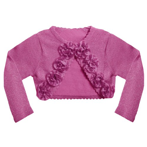 Bonnie Jean Baby/Infant METALLIC FUCHSIA-PINK ROLLED ROSETTE Special Occasion Cropped Bolero Sweater/Shrug/Jacket