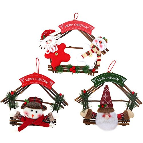 Xiaolanwelc@ Christmas Decorations for Home Christmas Rattan Ring Wreath Wall Tree Hanging Pendant Ornament for Shops Wood + fabric (Style 2)