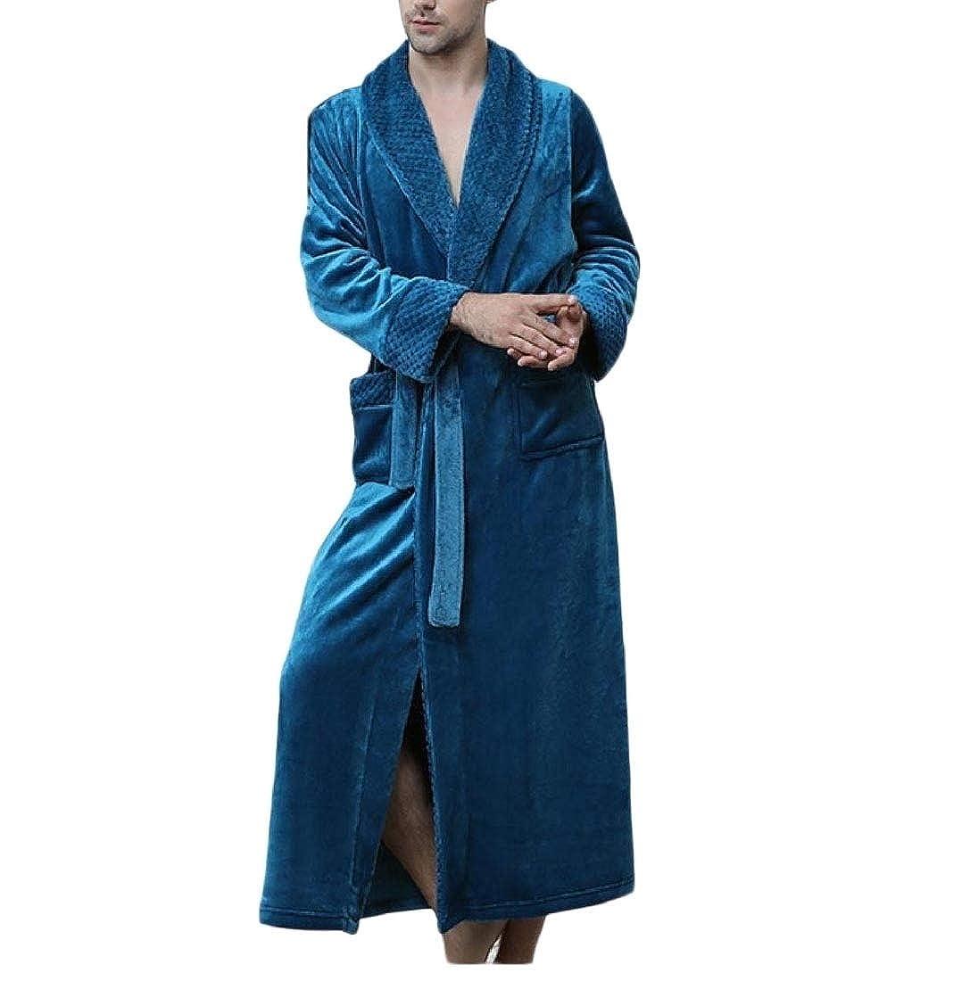 Young2 Mens Longline Flannel Nightgown Bathrobe Keeping Warm Nightwear