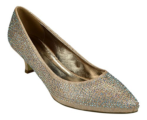 Chic Feet Ladies Glitter & Diamante Party Prom Bridesmaid Evening Low Kitten Heel Court Shoes Champagne