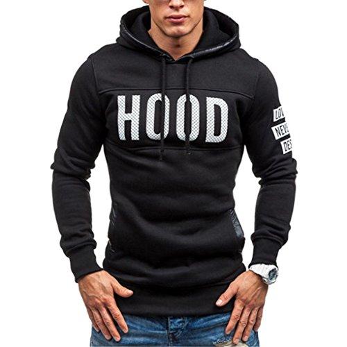 Han Shi Hoodies Coat, Men Hood Print Winter Slim Warm Pullover Sweatshirt Outwear Tops (L, (70s Pullover)