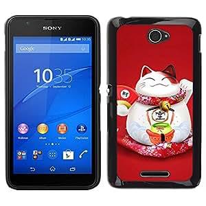 Caucho caso de Shell duro de la cubierta de accesorios de protección BY RAYDREAMMM - Sony Xperia E4 - Feliz lindo Fat Cat japonesa
