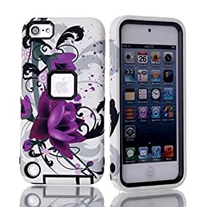 Lotus Flower Hybrid Impact 3in1 Armor Combo Rugged Hard Case Cover For Apple iPod Touch 5 5th Gen -Black