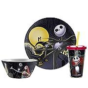 Zak Designs NBCD-3320-PBG 3-Piece Plastic Plate, Bowl & Cup Gift Set Dinnerware, Nightmare Before Christmas