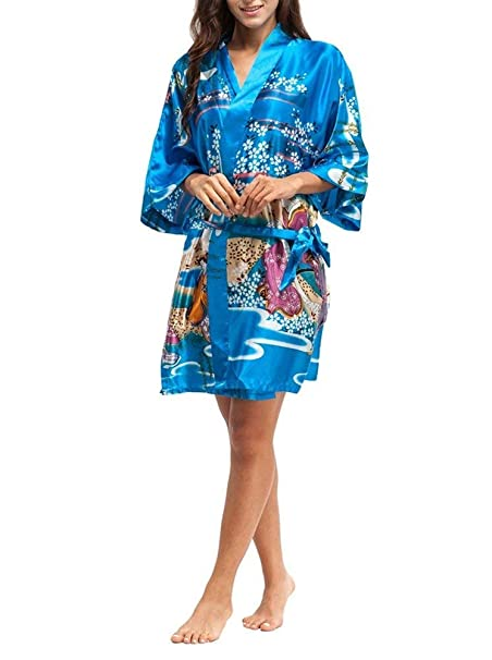 Patrón para Mujer Bata De Baño Albornoz con Bata De Casa Estampado Basic Floral De Moda Vintage Kimono Camisón Ropa (Color : Eisblau, Size : One Size): ...
