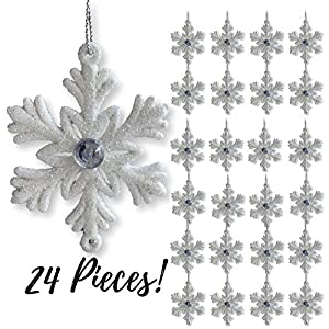 """BANBERRY DESIGNS White Snowflakes - Small 2 ½"""" Snowflake Ornaments with a Jewel - White Christmas Decorations - Glittered Snowflakes with Strings - Winter Party Decoration 26"""