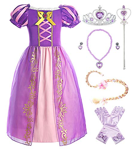 ReliBeauty Girls Rapunzel Dress Puff Sleeve Princess Costume, 4T-4, Purple(with Accessories) ()