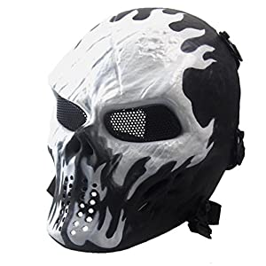 METFIT Halloween Airsoft Paintball Full Face Skull Skeleton CS Mask Tactical Military (F)