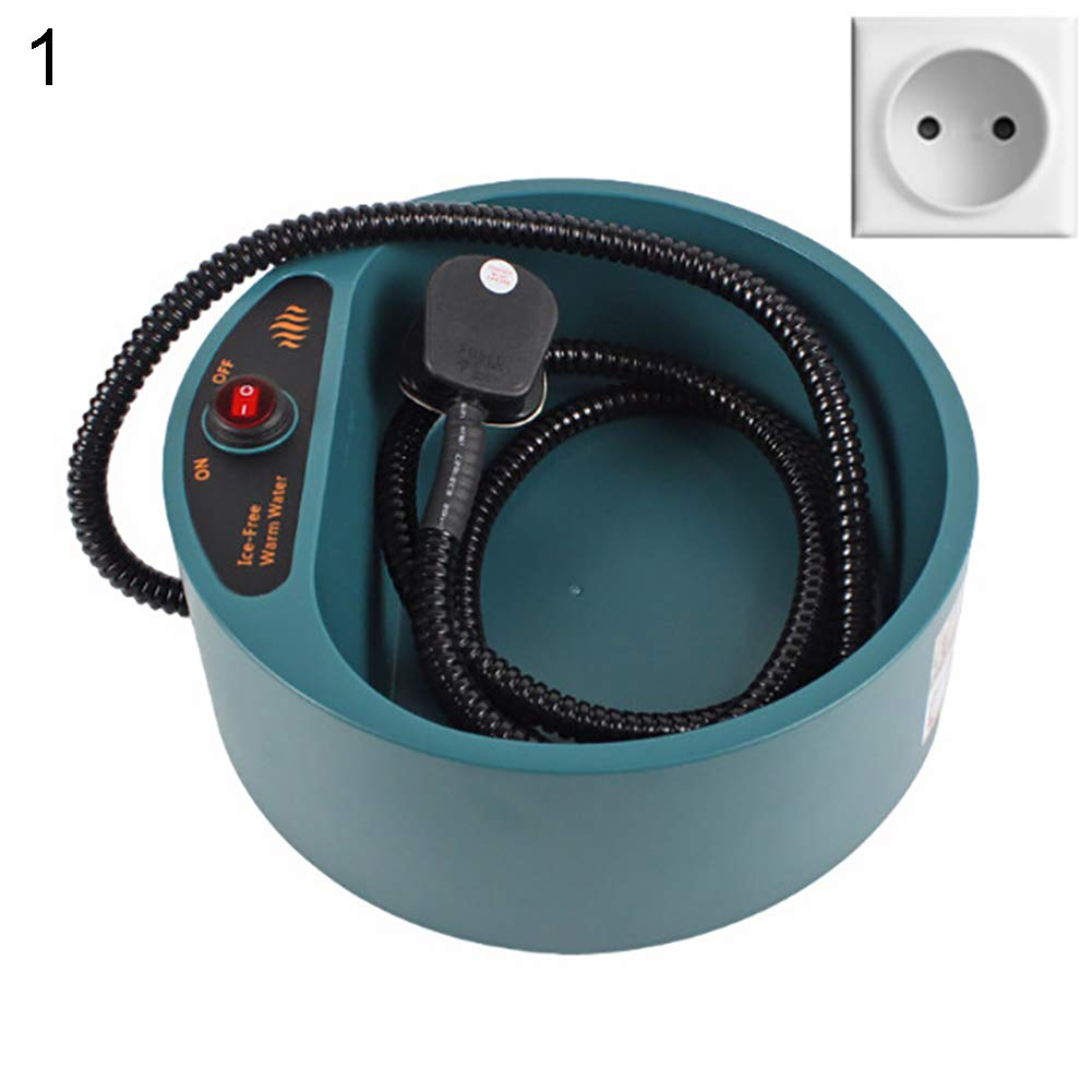 EU Plug BrawljRORty Pet Food Bowl, Dog Puppy Cat Winter Thermal Heated Bowl Heating Water Drinking Feeding Pet Dish