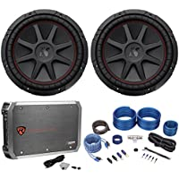 (2) Kicker 43CVR124 COMPVR 1600W 12 Car Subwoofers Subs+Mono Amplifier+Amp Kit