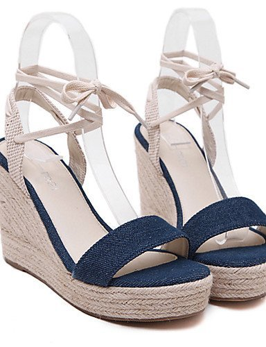ShangYi Womens Shoes Denim Wedge Heel Open Toe Sandals Party & Evening / Dress Black / Blue Blue