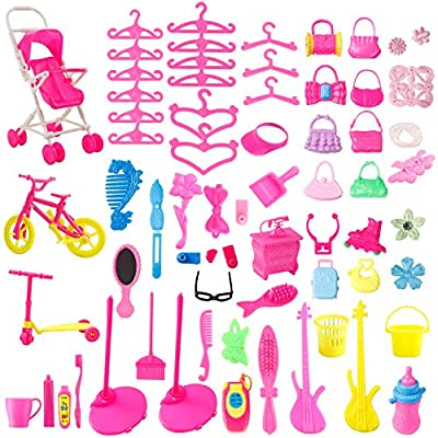 JANYUN Total 191pcs 20 Pack Clothes Party Gown Outfits and Wedding Dress for Dolls + 170 pcs Dolls Accessories Shoes Bags Necklace Mirror Hanger Tableware: Toys & Games