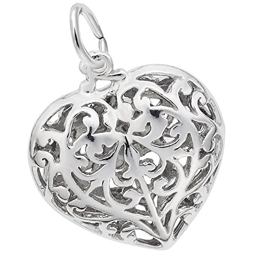 Rembrandt Heart - Rembrandt Charms, Filigree Heart.925 Sterling Silver