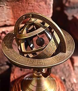 Collectible Nautical Brass Sphere Horoscope Armillary Globe Decor Vintage