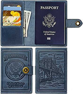 Villini - Leather RFID Blocking US Passport Holder Cover ID Card Wallet - Travel Case