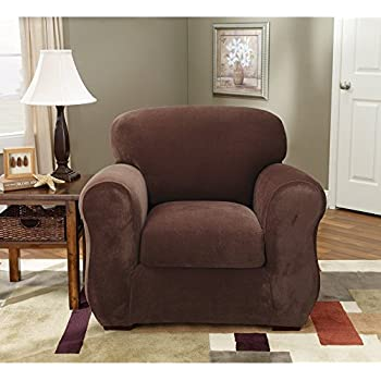 Sure Fit Stretch Pique 3 Piece   Chair Slipcover   Chocolate (SF36718)