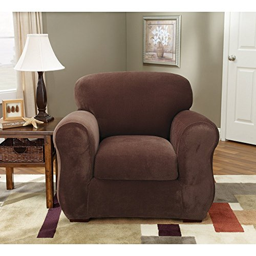 Sure Fit Stretch Pique 3-Piece  - Chair Slipcover  - Chocolate (SF36718) (Polyester Suede Chair)