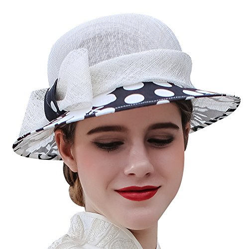 (Koola's hats Champagne Brown 3 Layers Sinamay Kentucky Derby Church Sun Summer Hats (Polka dot))