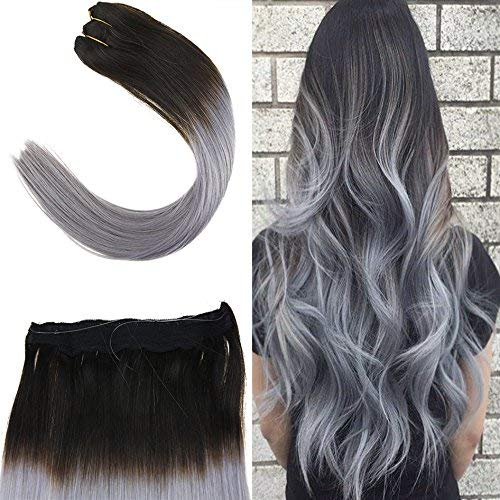 Youngsee 22 inch Ombre Hidden Halo Hair Extensions Natural Black to Blue Grey Remy Straight Invisible Wire Flip on Human Hair Extensions 100gram/set