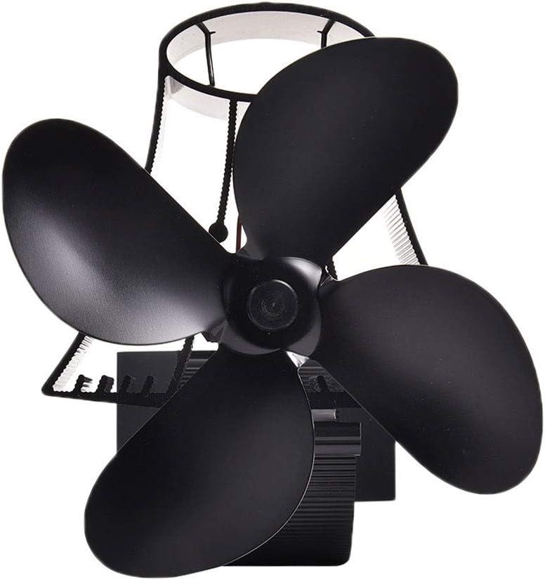 HUIJ Ventilador de Estufa Estufa Ventilador Stove Fan 4 Cuchillas Calor Accionado Larga Vida útil para Leña,Estufa de Leña,Estufa,Chimenea - Respetuoso del Medio Ambiente