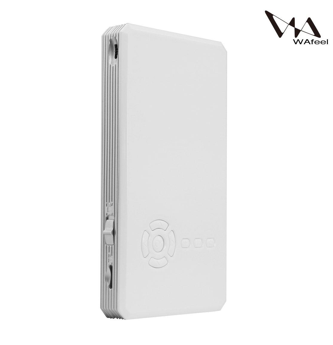 【WAfeel】多機種対応 プロジェクター T9 ミニサイズ DLPテクノロジー採用 全2色 Android 4.4OS搭載 Bluetooth4.0機能付き WI-FI無線対応 携帯式 三脚式スタンド付き (8GB, ホワイト) B01NAC3PS9 ホワイト 8GB