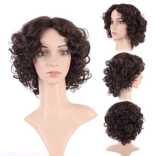 Dark Brown Curly Cosplay Wigs for Women Fashion Deep Wave Layers Dense Hair Heat Resistance Synthetic Costumer Wig - Synthetic Layer Curly Wig