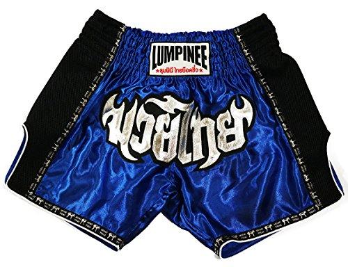 LUMPINEE Retro Original Muay Thai Shorts for Kick Boxing Fight LUMRTO-010 (XL, Blue)