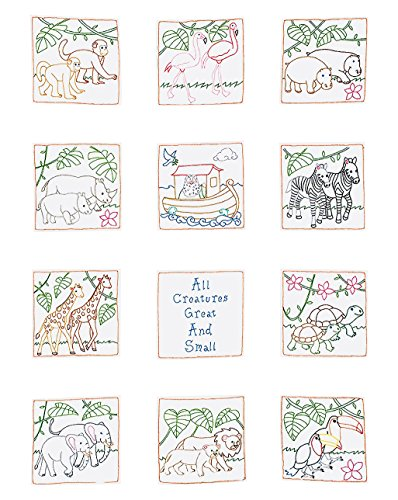 [Jack Dempsey Stamped White Nursery Quilt Blocks, 9-Inch by 9-Inch, Noah's Ark, 12-Pack] (Jack Dempsey Block)