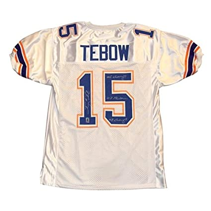 new product ec249 bd219 Tim Tebow Autographed Florida Gators (White #15) Jersey w ...