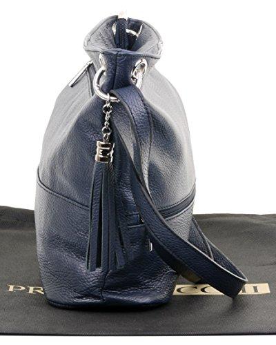 Sacchi® épaule bandoulière Primo texturé Marine cuir italienne sac en ou vpxdqRp