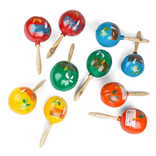 Let's Fiesta Genuine Mexican Hand-Painted Wooden Maracas Party Favors 7.5