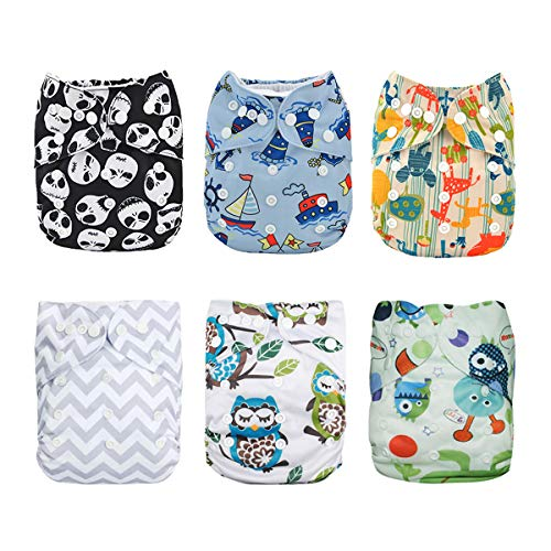 Diaper Fitted Cloth (Alva Baby 6pcs Pack Fitted Pocket Cloth Diaper with 2 Inserts Each (Boy Color) 6DM12)