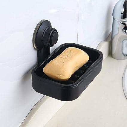 el cuarto de ba/ño Topsky Jabonera larga de silicona negra con drenaje auto-vaciado para la cocina la ducha