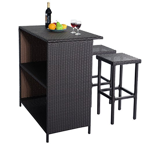 patio outdoor table and 2 stools outdoor rattan wicker bar. Black Bedroom Furniture Sets. Home Design Ideas