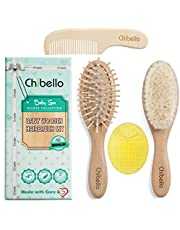 Chibello Baby Hair Brush and Comb Set Natural Wooden Goat Bristles Brush for Cradle Cap Treatment Wood Bristle Brush for Newborns and Toddlers Great Baby Shower and Registry Gift