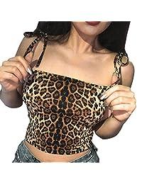 Lavany Womens Crop Tops Summer Leopard Camisole Sleeveless Blouse T-Shirt for Women