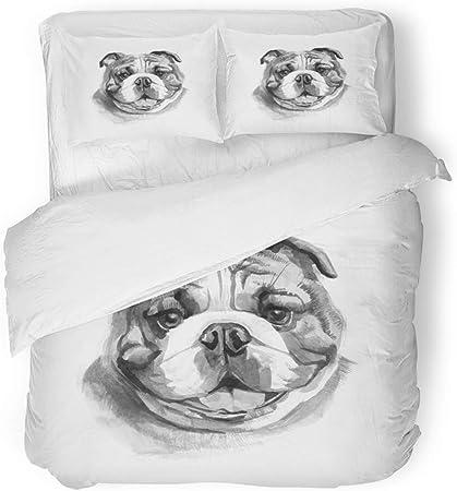 Copripiumino Bulldog Inglese.Copripiumino 3 Pezzi Set Tessuto Microfibra Spazzolato Bulldog