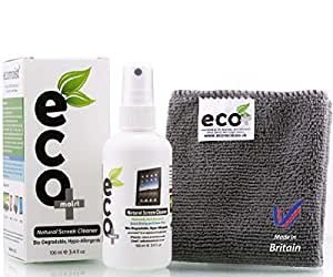Screen Cleaner KIT 100Ml + Xtra Fine Microfiber Towel + All Natural + MADE IN UK, GREEN PRODUCT, NO AMMONIA AND ALCOHOL, Cleans All Dusts and stains, Best for Laptop, iPhone, iPad, Computers, Touch screens etc.